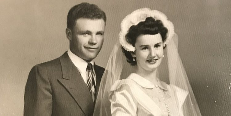 Black and white wedding photo of grandparents